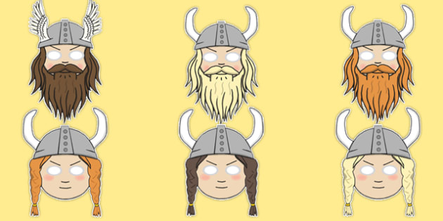 The Vikings Role Play Masks - Vikings, England, history, role play mask, role play, longboat, Scandinavian, explorers, Viking Age, longship, Norse, Norway, Wessex, Danelaw, York, thatched house, shield