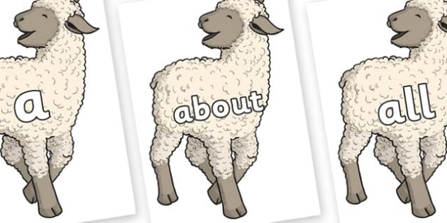 100 High Frequency Words on Lamb - High frequency words, hfw, DfES Letters and Sounds, Letters and Sounds, display words