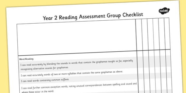 2014 Curriculum Year 2 English Reading Assessment Group Checklist