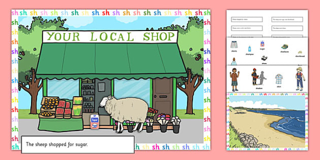 Silly SH Sound Sentences Cut and Stick Pictures - silly sh, sentence, cut and stick, pictures