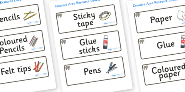 Elephant Themed Editable Creative Area Resource Labels - Themed creative resource labels, Label template, Resource Label, Name Labels, Editable Labels, Drawer Labels, KS1 Labels, Foundation Labels, Foundation Stage Labels