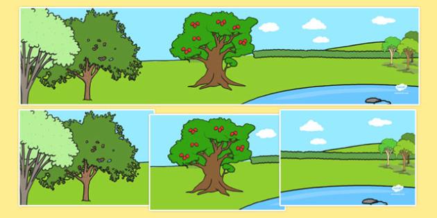 Adam and Eve Creation Story Small World Background - Adam, Eve, Eden, serpent, fruit, earth, garden, creation,  backdrop, background, scenery, small world area, small world display, small world resources, creation story, paradise, sea creatures, bird