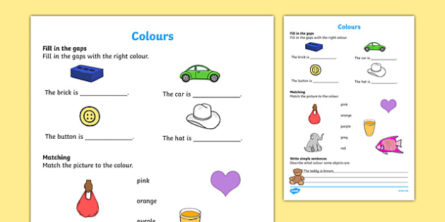 Colours Activity Sheet, worksheet