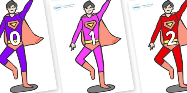Numbers 0-100 on Superheroes (Multicolour) - 0-100, foundation stage numeracy, Number recognition, Number flashcards, counting, number frieze, Display numbers, number posters