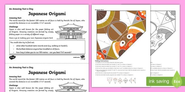 Japanese Origami Activity Sheet