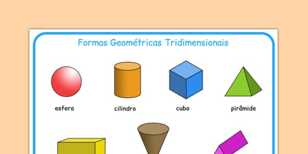 Formas Geométricas Tridimensionais Portuguese - portuguese, 3d shape, word mat, word, mat, 3d, shape