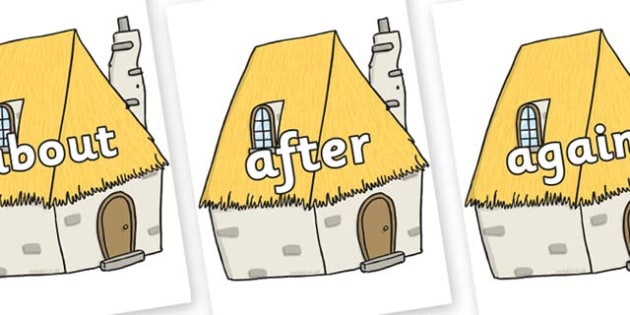 KS1 Keywords on Cottage - KS1, CLL, Communication language and literacy, Display, Key words, high frequency words, foundation stage literacy, DfES Letters and Sounds, Letters and Sounds, spelling