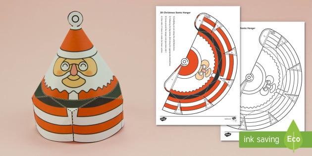 Simple Christmas Hanging Cone Santa Decoration Activity Paper Craft