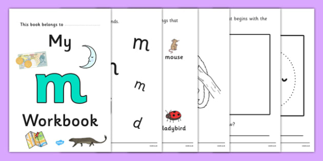 My Workbook m lowercase - workbook, m sound, lowercase, letters, alphabet, activity, handwriting, writing
