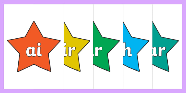 Phase 3 Phonemes on Stars (Multicolour) - Phonemes, phoneme, Phase 3, Phase three, Foundation, Literacy, Letters and Sounds, DfES, display