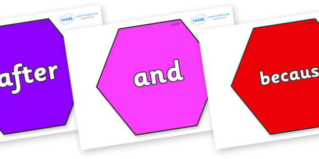 Connectives on Hexagons - Connectives, VCOP, connective resources, connectives display words, connective displays