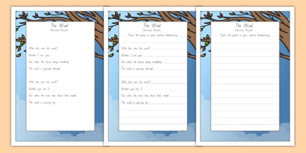 New Zealand The Wind Poem Handwriting Practice Activity Sheets, worksheet
