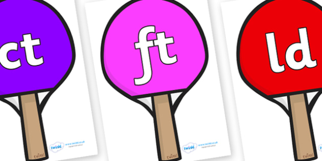 Final Letter Blends on Table Tennis Bats - Final Letters, final letter, letter blend, letter blends, consonant, consonants, digraph, trigraph, literacy, alphabet, letters, foundation stage literacy