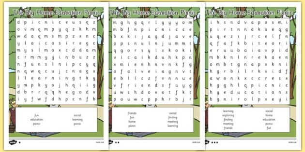 The Big Home Education Picnic Word Search - the big home education picnic, word search