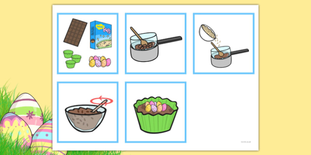 5 Step Sequencing Cards Making Crispie Cakes - sequencing, cards