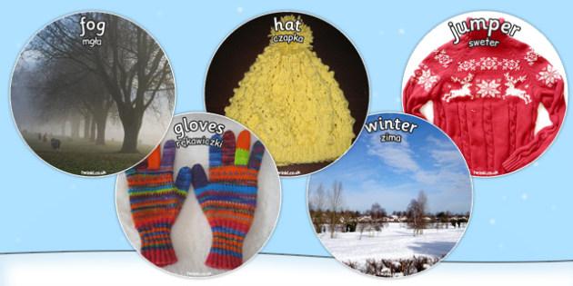 Winter Display Circle Photo Cut Outs Polish Translation - polish, winter, display, circle, photo, cut outs
