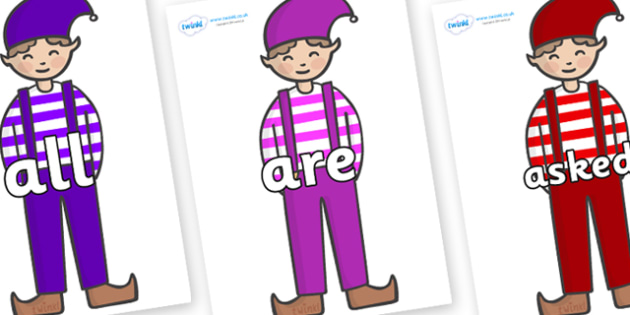 Tricky Words on Elf (Boy) - Tricky words, DfES Letters and Sounds, Letters and sounds, display, words