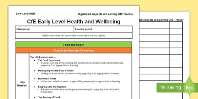 Health and Wellbeing Significant Aspects of Learning and Progression Framework CfE Early Level Tracker-Scottish