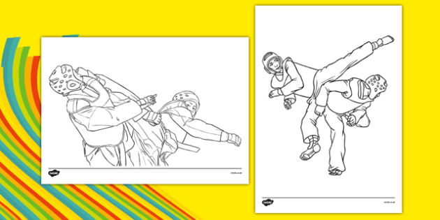 The Olympics Taekwondo Colouring Sheets - Taekwondo, Olympics, Olympic Games, sports, Olympic, London, 2012, colouring, fine motor skills, poster, worksheet, vines, A4, display, activity, Olympic torch, events, flag, countries, medal, Olympic Rings,