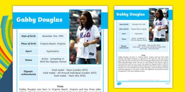 USA Olympians Gabby Douglas Fact File