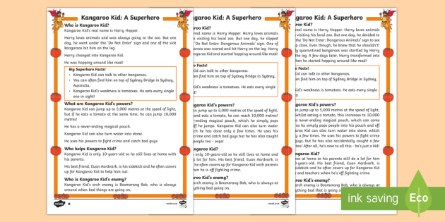 Kangaroo Kid: A Superhero Differentiated Fact File - Superheroes, Super Kangaroo kid, hero, save, villain, powers, sidekick, reading, facts, information,