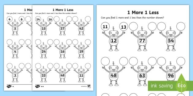 1 More 1 Less Robots Activity Sheet - activity, robot, numbers, worksheet