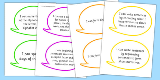 2014 Curriculum Y1 English Writing Assessment I Can Speech Bubbles