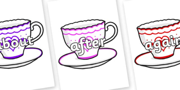 KS1 Keywords on Cups and Saucers - KS1, CLL, Communication language and literacy, Display, Key words, high frequency words, foundation stage literacy, DfES Letters and Sounds, Letters and Sounds, spelling