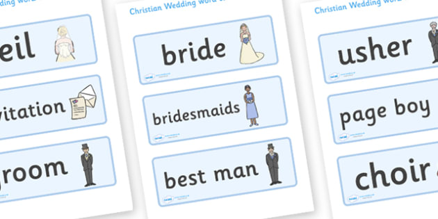 Christian Wedding Word Cards - Wedding, Word cards, Weddings, Word Card, flashcard, flashcards, wedding, marriage, bride, groom, church, priest, vicar, dress, cake, ring, rings, bridesmaid, flowers, bouquet, reception, love