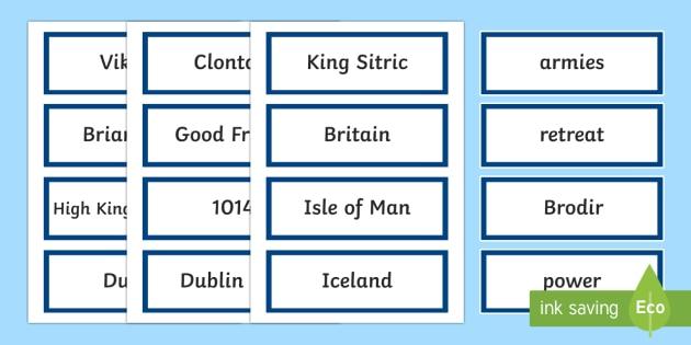The Battle of Clontarf Word Cards-Irish