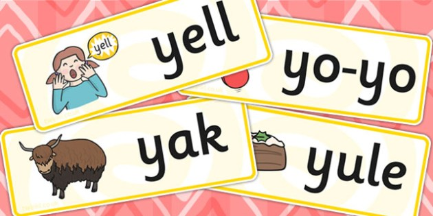 Initial y Sound Word Cards - initial y, sound, sounds, word cards