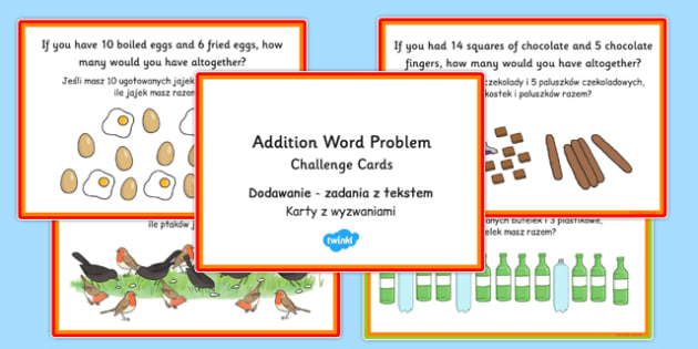 KS1 Addition Word Problem Challenge Cards Polish Translation - polish, ks1, addition, word problem, challenge cards