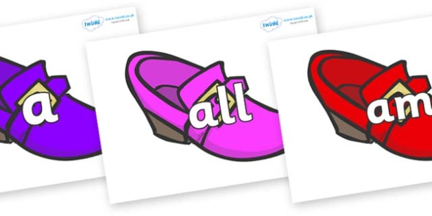 Foundation Stage 2 Keywords on Shoes - FS2, CLL, keywords, Communication language and literacy,  Display, Key words, high frequency words, foundation stage literacy, DfES Letters and Sounds, Letters and Sounds, spelling