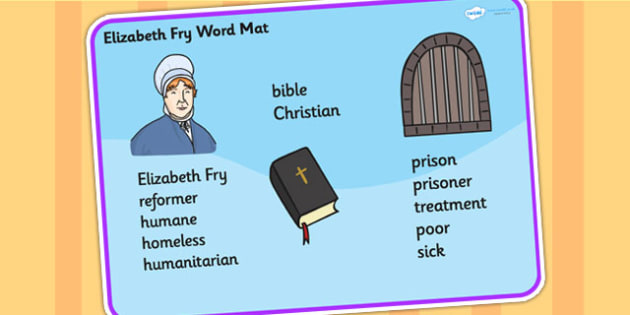 Elizabeth Fry Word Mat - elizabeth fry, word mat, topic words, key words, important words, mat of words, relevent words, story mat, themed word mat