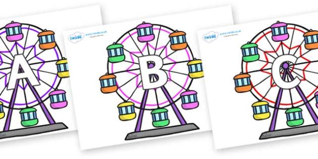 A-Z Alphabet on Ferris Wheels - A-Z, A4, display, Alphabet frieze, Display letters, Letter posters, A-Z letters, Alphabet flashcards