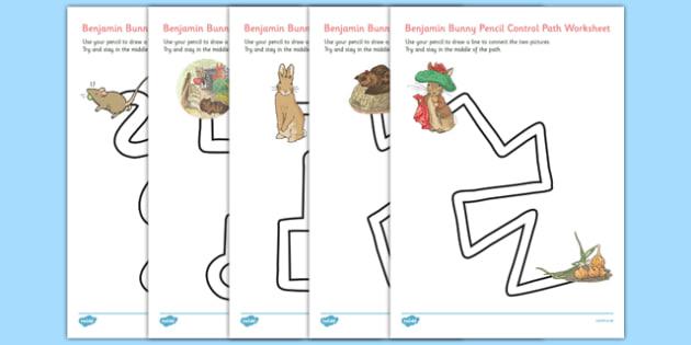 Beatrix Potter - The Tale of Benjamin Bunny Pencil Control Path Worksheets - beatrix potter, benjamin bunny