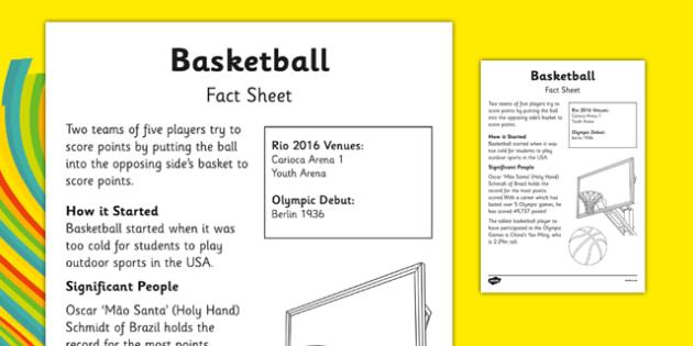 Rio 2016 Basketball Fact Sheet - rio 2016, rio olympics, 2016 olympics, basketball, fact sheet