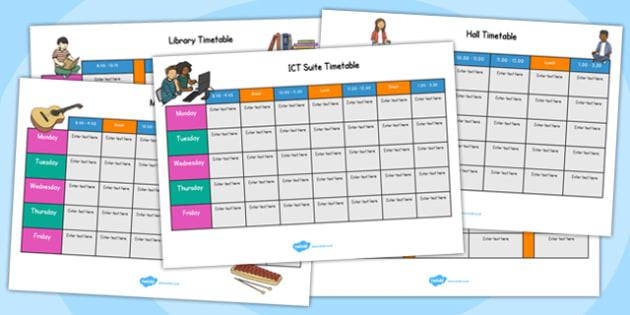 School Area Timetables - school area, timetable, schedule, school