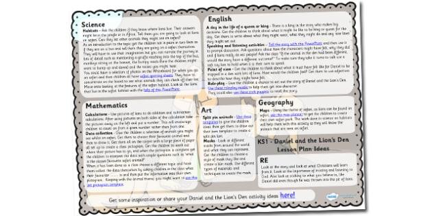 Daniel And The Lions Den Lesson Plan Ideas KS1 - lesson plan, KS1
