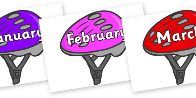 Months of the Year on Helmets - Months of the Year, Months poster, Months display, display, poster, frieze, Months, month, January, February, March, April, May, June, July, August, September