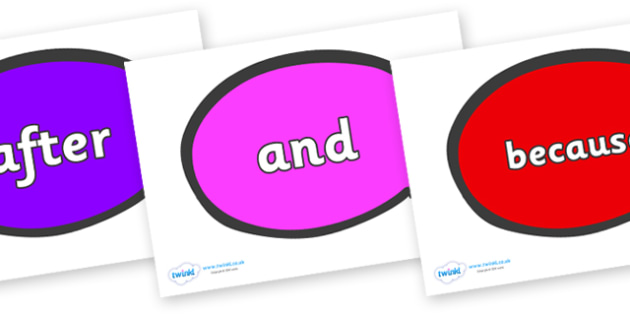 Connectives on Speech Bubble - Connectives, VCOP, connective resources, connectives display words, connective displays