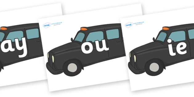 Phase 5 Phonemes on Taxi Cabs - Phonemes, phoneme, Phase 5, Phase five, Foundation, Literacy, Letters and Sounds, DfES, display