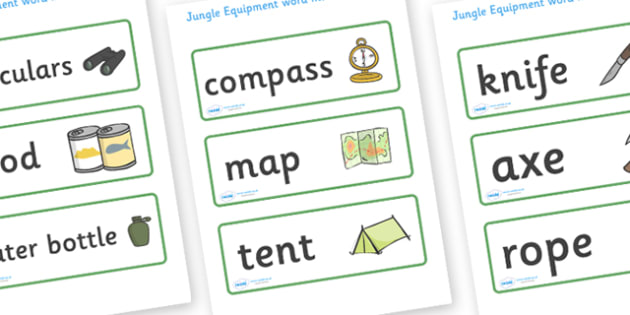 Jungle Equipment Word Cards - jungle, equipment, word card, flashcards, cards, binoculars, food, water bottle, compass, map, tent, knife, axe