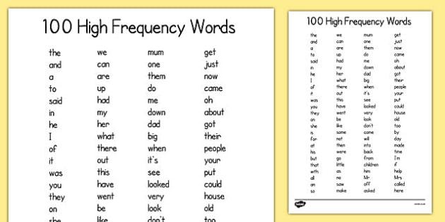 100 High Frequency Words List - 100, high frequency, words, list, 100 high frequency, sight words, vocabulary