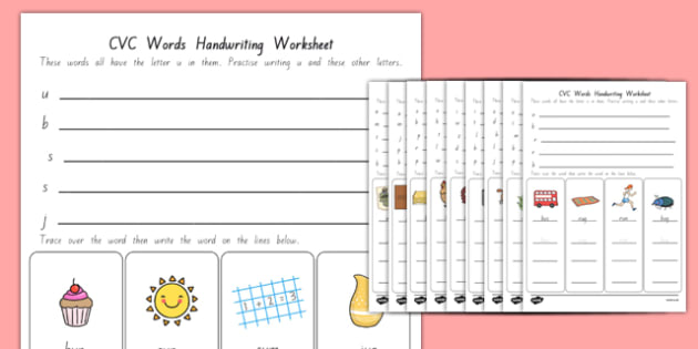 CVC Words Handwriting Worksheets New Zealand - nz, new zealand, cvc words, handwriting, worksheets, writing, write, cvc, words