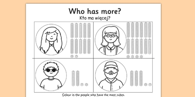 Place Value Tens and Units Who Has More Worksheet Polish Translation - polish, place value, more