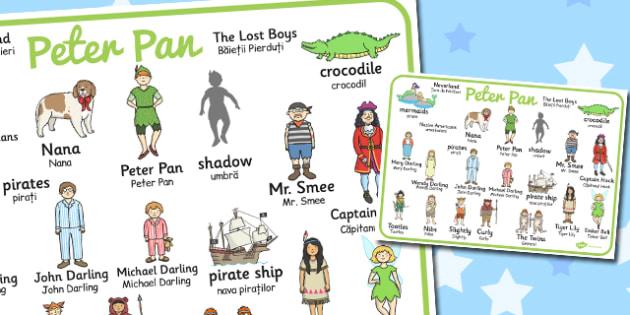 Peter Pan Word Mat Romanian Translation - romanian, peter pan