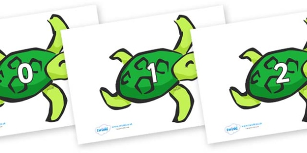 Numbers 0-50 on Turtles - 0-50, foundation stage numeracy, Number recognition, Number flashcards, counting, number frieze, Display numbers, number posters