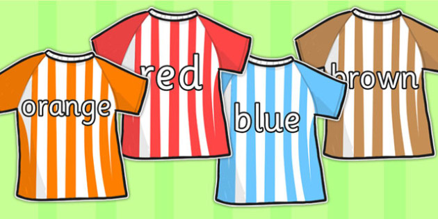 Colour Names on Football Shirts - colouring, names, football