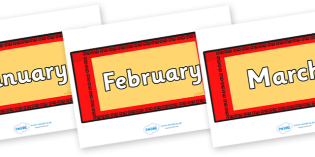 Months of the Year on Chinese Money Wallets - Months of the Year, Months poster, Months display, display, poster, frieze, Months, month, January, February, March, April, May, June, July, August, September
